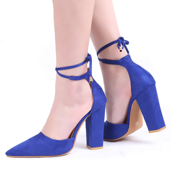 Navy Blue Flock Pointed Toe Sandal Lace Up
