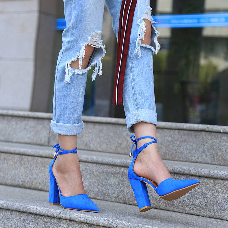 Blue Flock Pointed Toe Sandal Lace Up