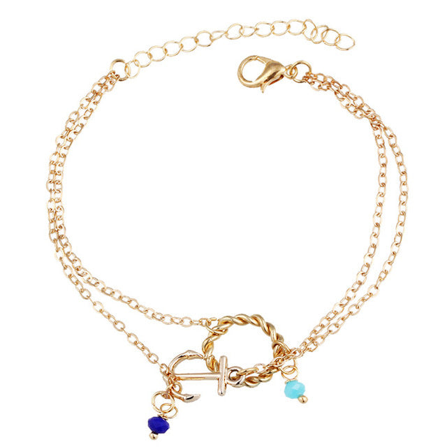Ankle Jewelry Gold Plated Deep Blue light blue Stones