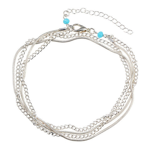 Ankle Jewelry Sivler Light Blue Stone