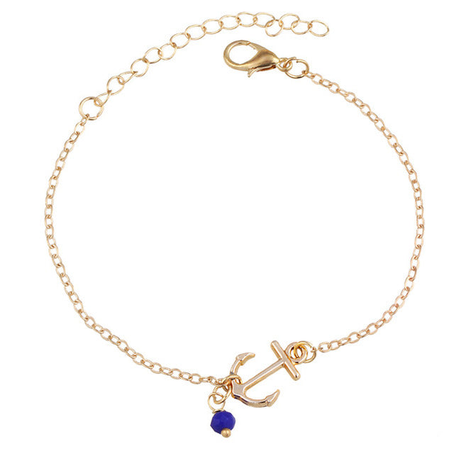 Ankle Jewelry Gold Plated Deep Blue Stone Sea Archer