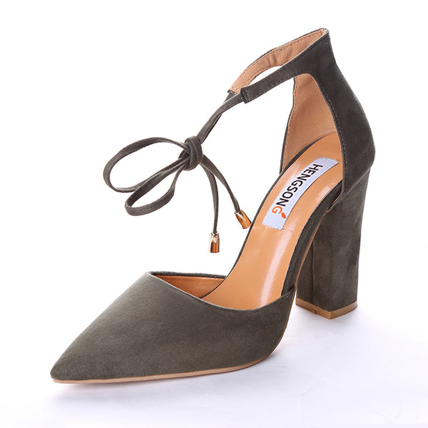 Tea Brown Flock Pointed Toe Sandal Lace UpTea Brown Flock Pointed Toe Sandal Lace Up