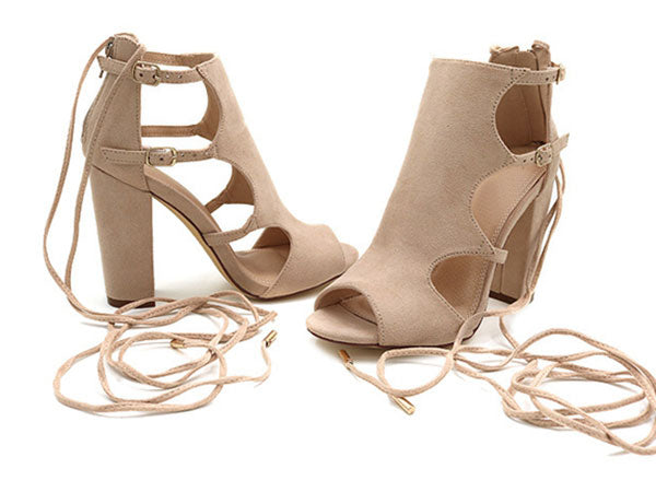 Brown Flock Gladiator Lace Up Peep Toe Square Heel Sandal