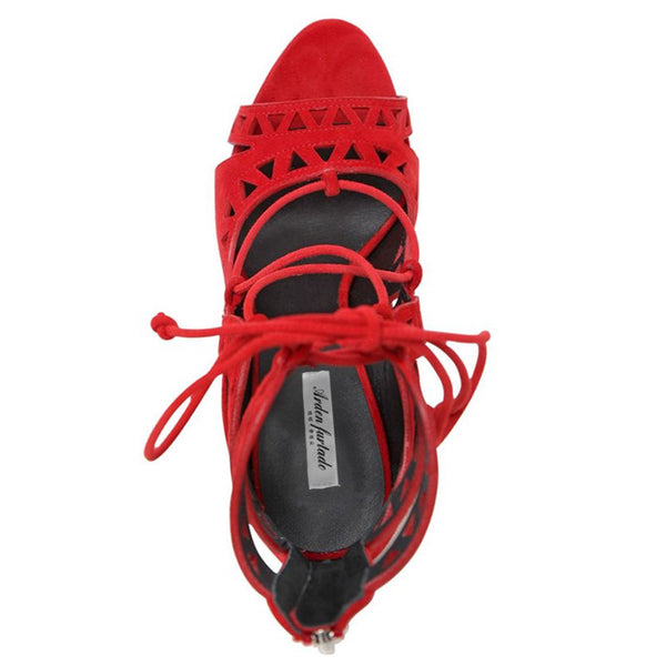 Red Gladiator Lace Up Stiletto Zip Back