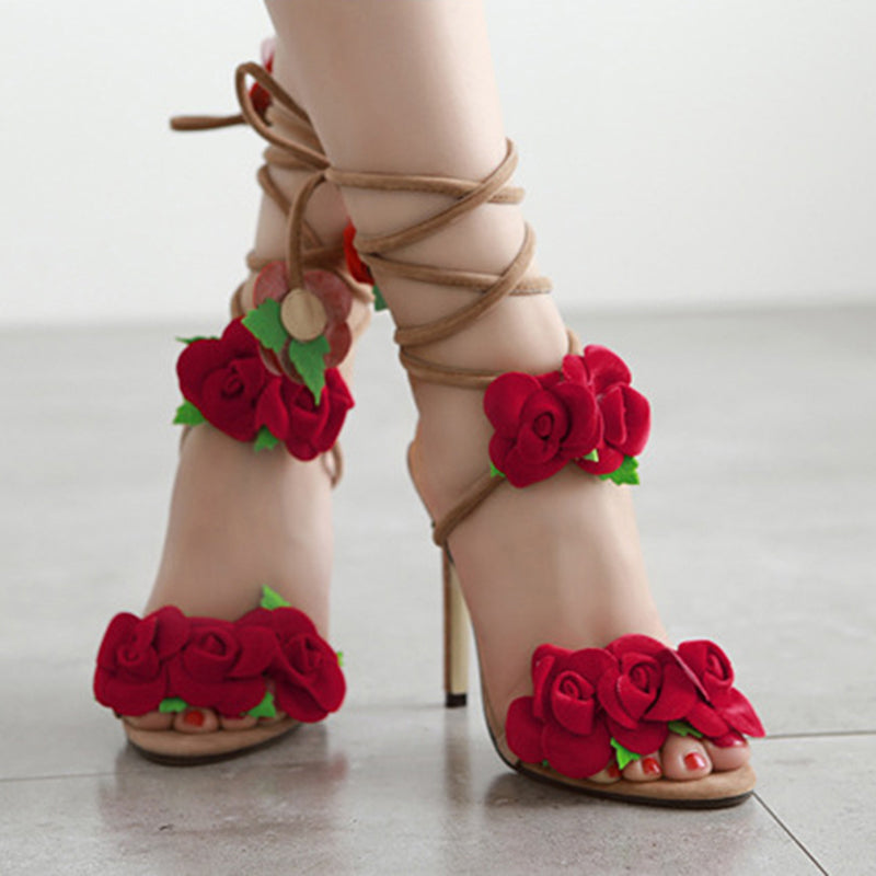 Rose Red Floral Ankle Strap Lace Up Stiletto Sandal