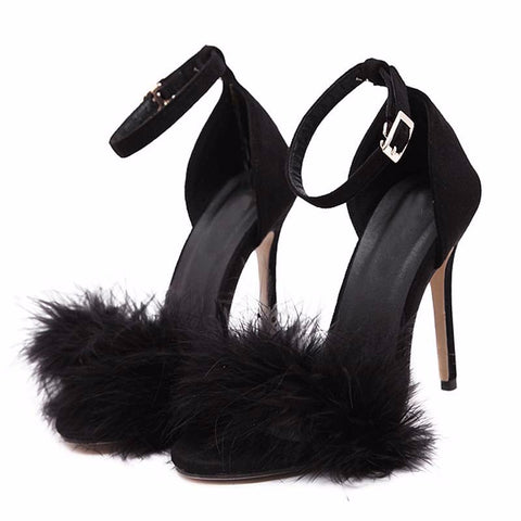 Black Suede Feather Furry Open-Toe Buckle Strap Stiletto Heel