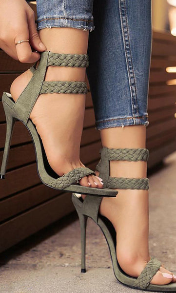 Green Suede Open Toe Sandal Lace Up Heel