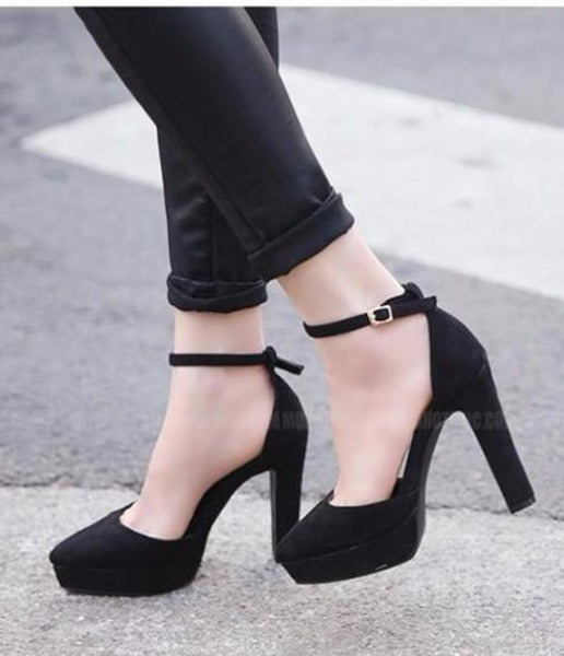 Black Flock Platform Square Heel Buckle Up