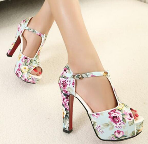 White Floral Buckle Up Platform Square Heel