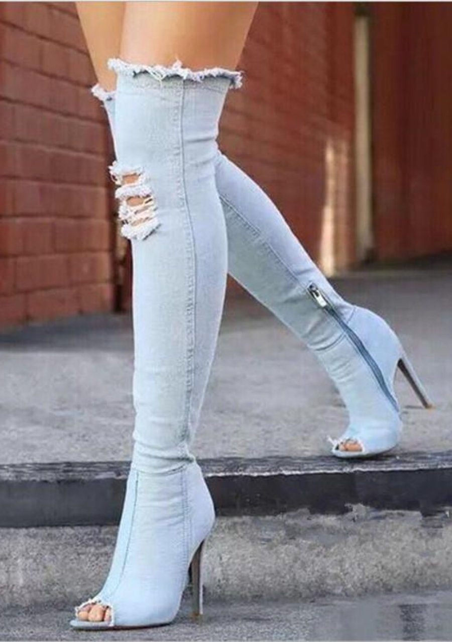Sky Blue Denim Thigh High Over-The-Knee Peep Toe Boots