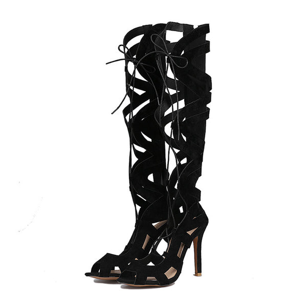 Black Flock Over The Knee Thigh High Gladiator Lace Up Stiletto in (Plus Sizes)