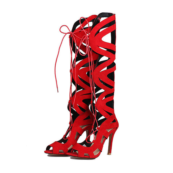 Red Flock Over The Knee Thigh High Gladiator Lace Up Stiletto in (Plus Sizes)
