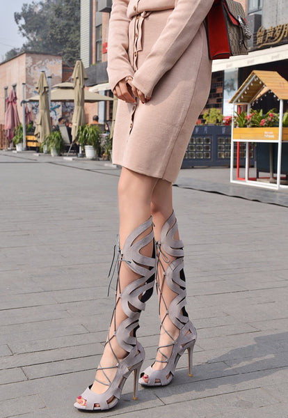 Beige Flock Over The Knee Thigh High Gladiator Lace Up Stiletto in (Plus Sizes)