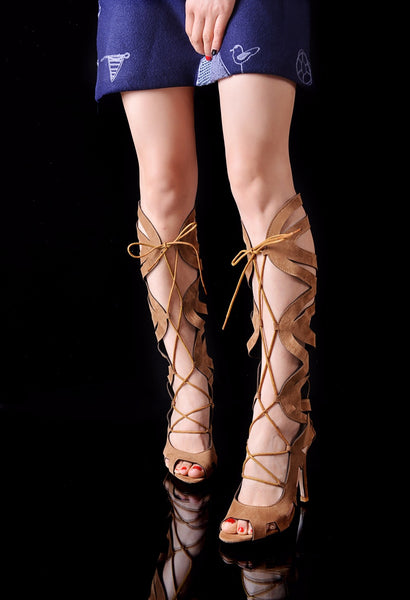 Brown Flock Over The Knee Thigh High Gladiator Lace Up Stiletto in (Plus Sizes)