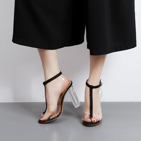 Black Buckle Up Clear See Through Sandal Open Toe