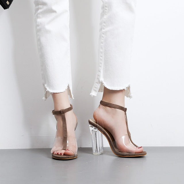 Brown Buckle Up Clear See Through Sandal Open Toe