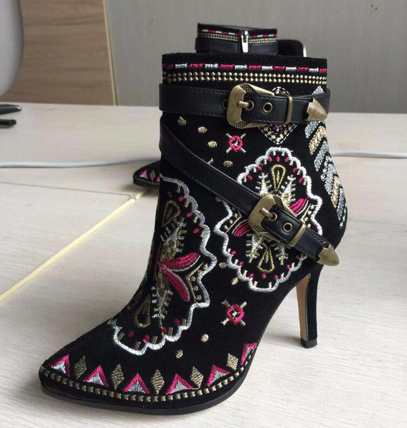 Black Stiletto Ankle Boot with Buckle Strap and Zip Back
