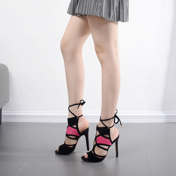 Pink Flock Lace Up Sandal Peep Toe Stiletto