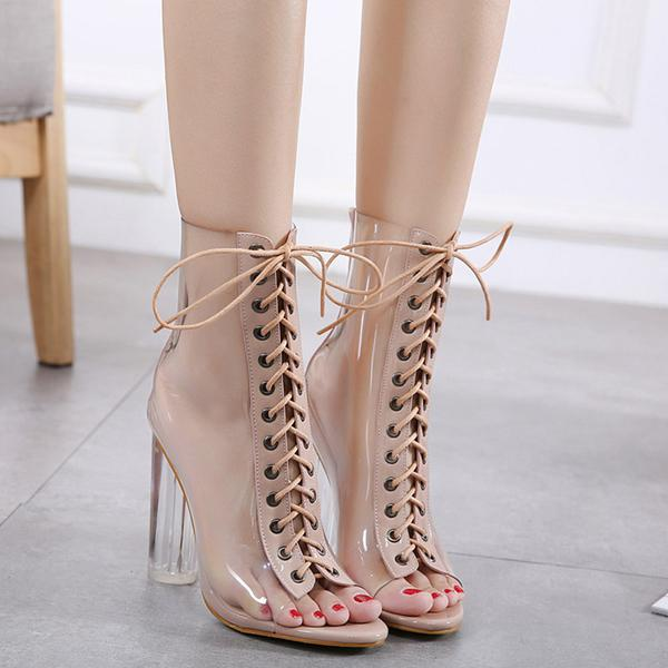 Clear See Through Khaki Lace-Up Open Toe Ankle Boots