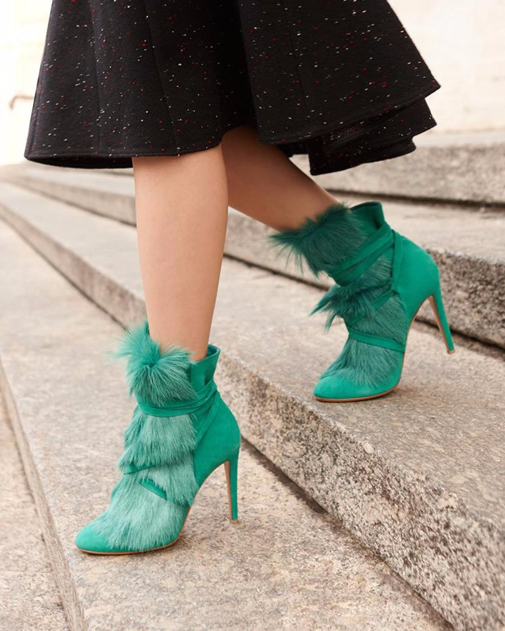 Green Black Flock Feather Furry Pointed-Toe Slip-on Heel Boot
