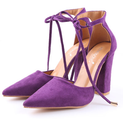Purple Flock Pointed Toe Sandal Lace Up