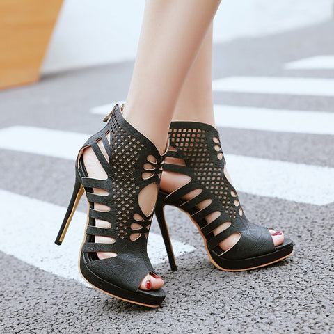 Black Heeled Sandal Open Toe