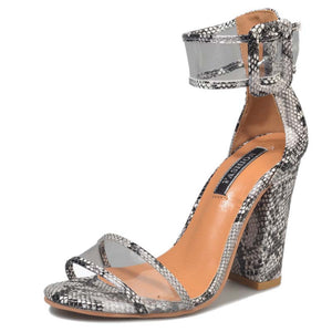 Snake Clear See Through Strap Sandal Thick Heel