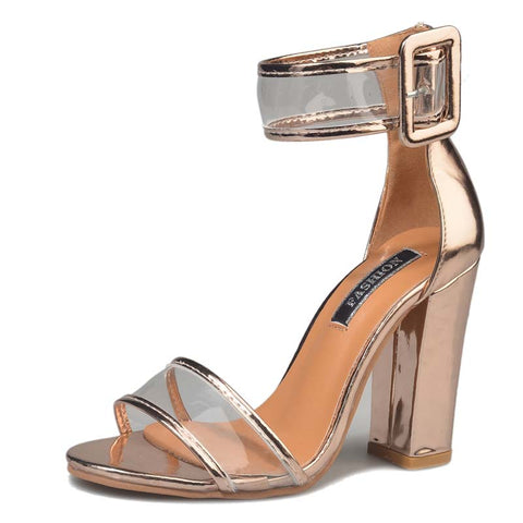 Gold Clear See Through Strap Sandal Thick Heel