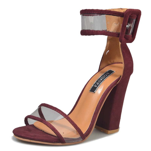 Deep Red Clear See Through Strap Sandal Thick Heel