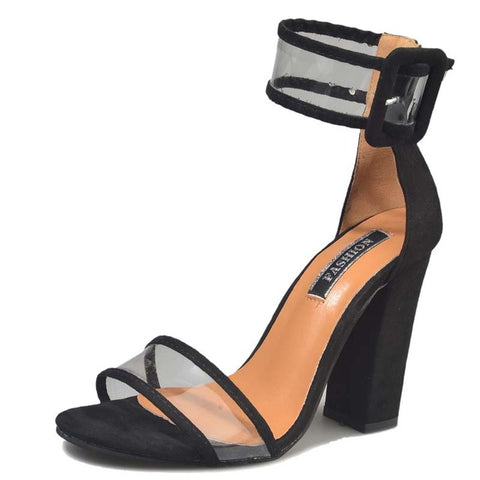 Black Clear See Through Strap Sandal Thick Heel