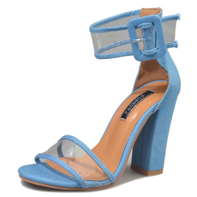 Blue Clear See Through Strap Sandal Thick Heel