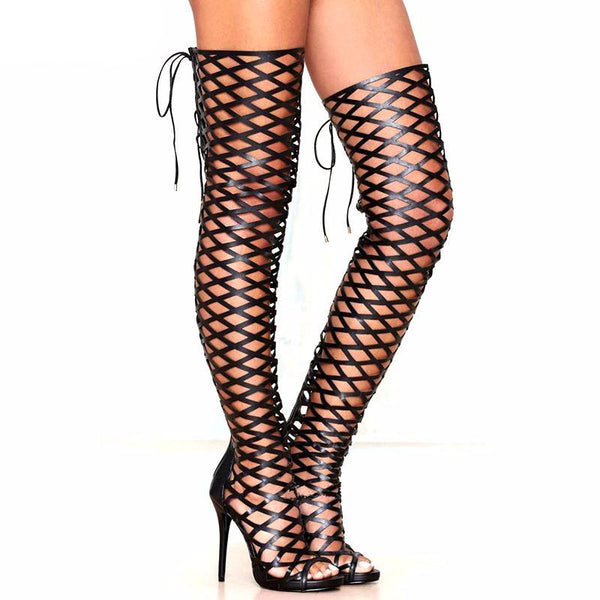 Black Leather Over The Knee Thigh High Motorcycle Stiletto in (Plus Sizes)