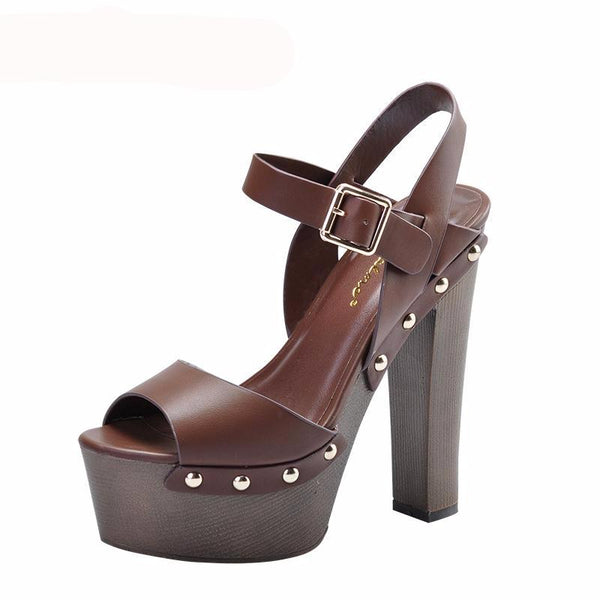 Brown Studded Platform Square Heel With Buckle Strap