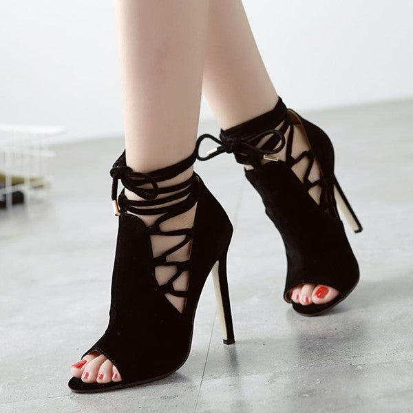 Black Flock Lace Up Peep Toe Stiletto