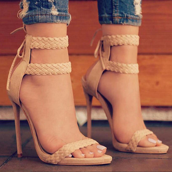 Apricot Suede Open Toe Sandal Lace Up Heel