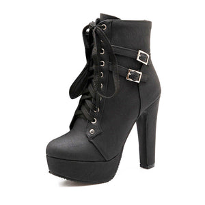 Black Motorcycle Ankle Boot Lace Up