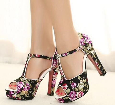 Black Floral Buckle Up Platform Square Heel