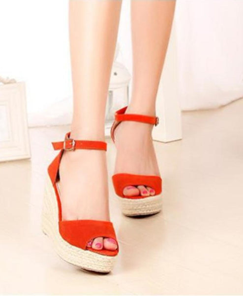 Orange Wedge High Heel Sandal Buckle Strap Open Toe