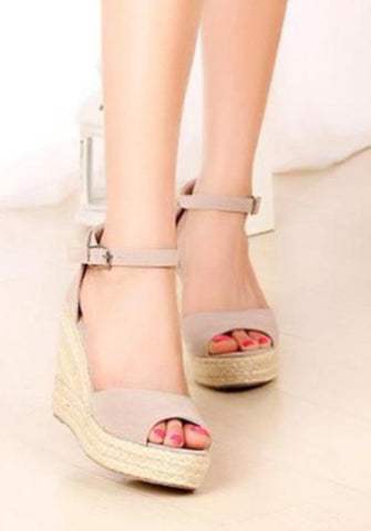 Grey Wedge High Heel Sandal Buckle Strap Open Toe