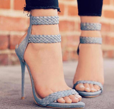 Blue Suede Open Toe Sandal Lace Up Heel