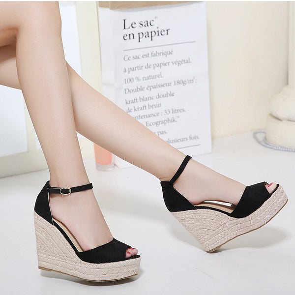 Black Wedge High Heel Sandal Buckle Strap Open Toe
