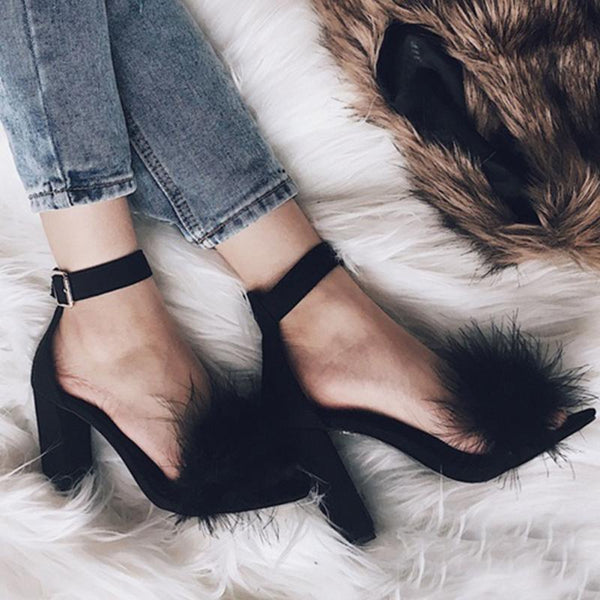 Black Suede Feather Furry Open-Toe Buckle Strap Square Heel