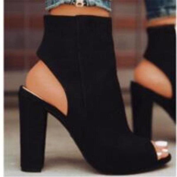Black Suede Peep Toe Thick Heel Boot Ankle High