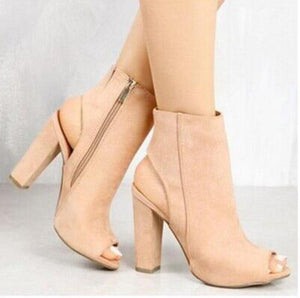 Skin Tone Suede Peep Toe Thick Heel Boot Ankle High