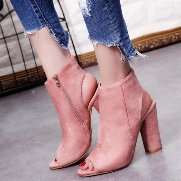 Pink Suede Peep Toe Thick Heel Boot Ankle High