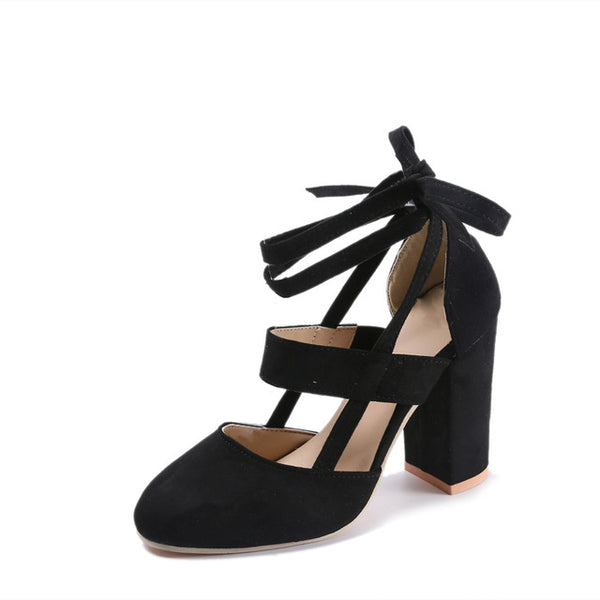 Lace Up Square Heel in Black,Pink,Red,Blue,Brown