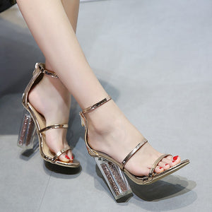 Gold Open Toe Sandal Clear See Through Heel with Gold Dust