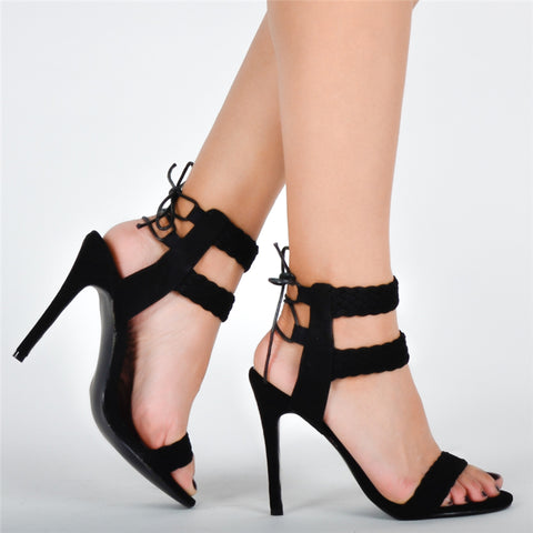 Black Suede Open Toe Sandal Lace Up Heel