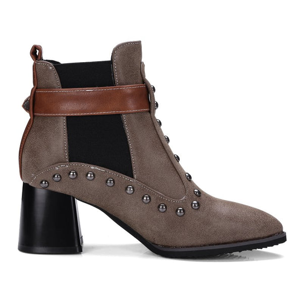 Brown Ankle Boot Slip-On Square Heel Studded