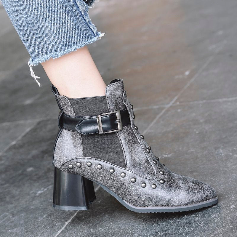 Black Ankle Boot Slip-On Square Heel Studded